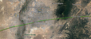 Détail du tracé au survol d'Albuquerque
