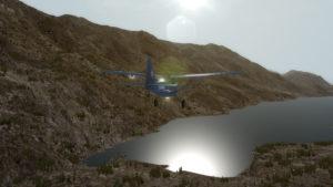 Juste après le décollage, le lac Chelan